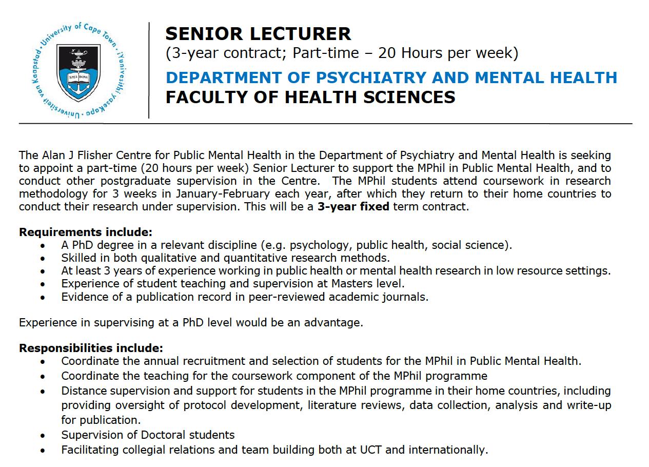 Vacancy: Part-time Senior Lecturer to coordinate the MPhil