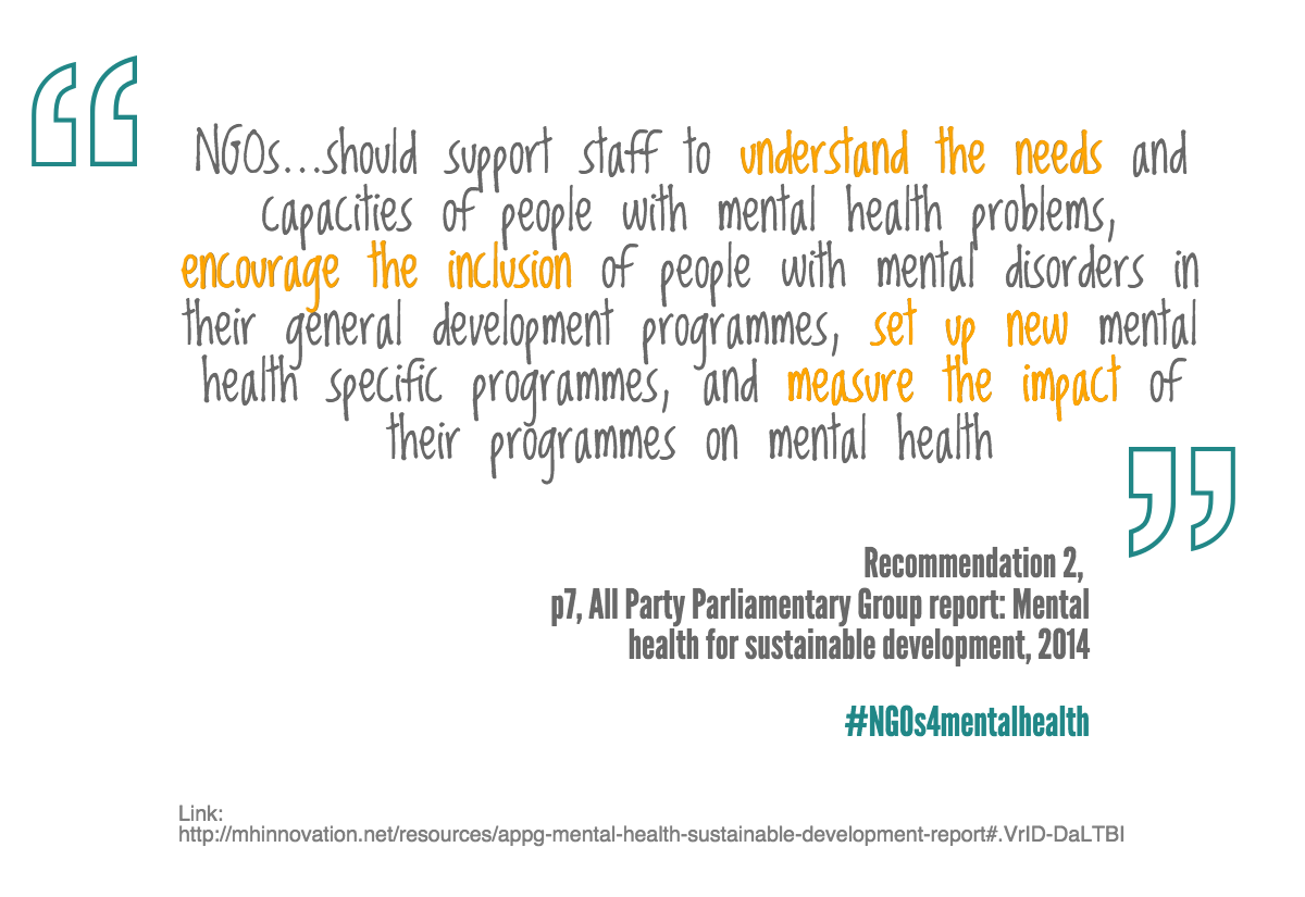 NGO recommendation from APPG report 2014