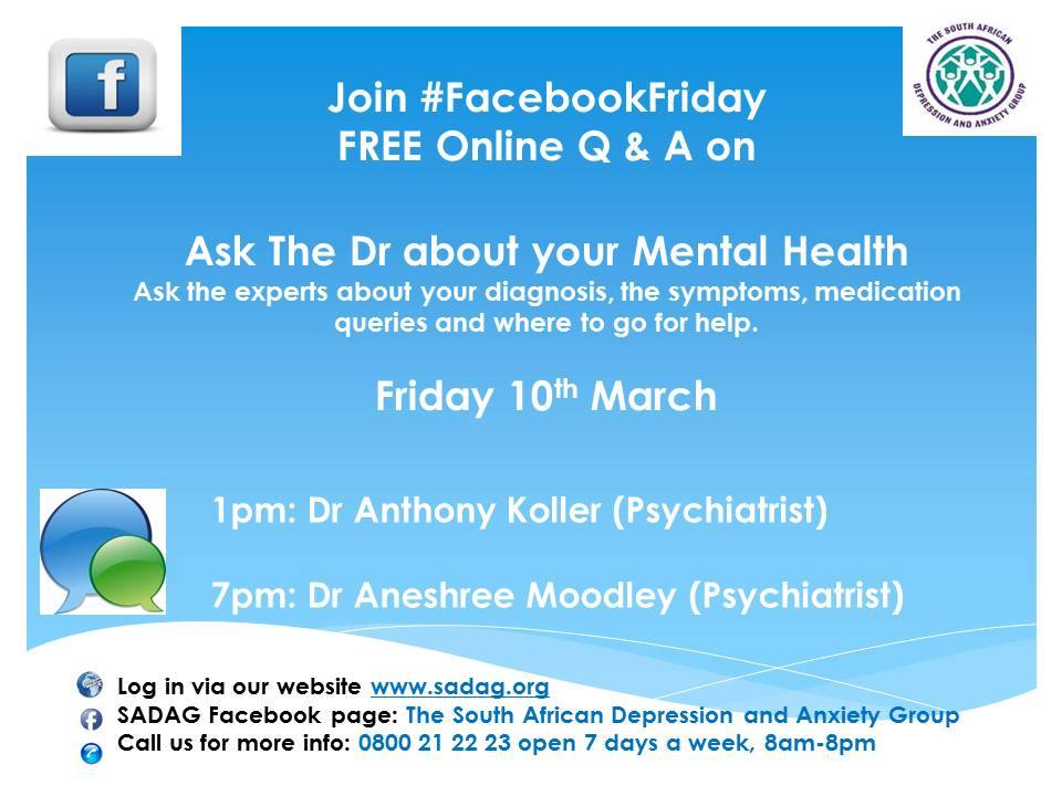 Ask The Dr About Your Mental Health Sadag Facebookfriday Chat And